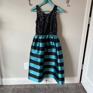 Anthropologie fancy formal sequin dress black aqua